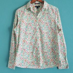 {Lands' End} Floral No Iron Supima Baumwolle Top